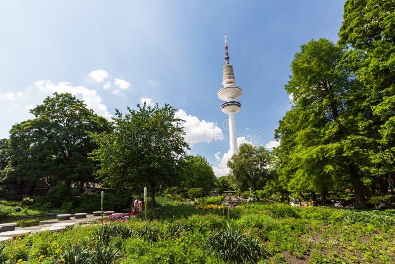 View of the Planten un Blomen Park near the Parksee. HAMBURG, GERMANY - JUNE 5, 2016: View of the Planten un Blomen Park near the Parksee on June 5, 2016. The royalty free stock images