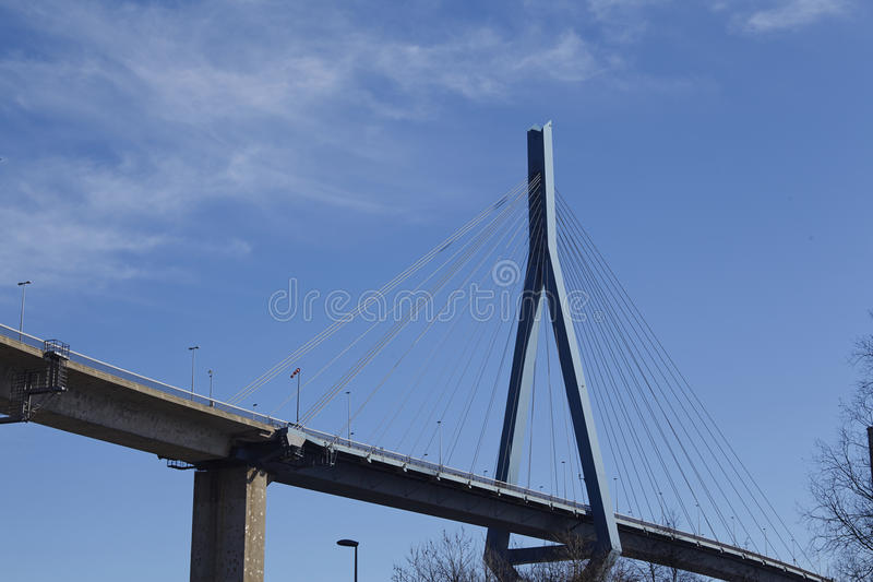 Hamburg (Germany) - Koehlbrand Bridge. The port of Hamburg (Germany) is spanned by the famous Koehlbrand Bridge since September 23, 1974 stock photography