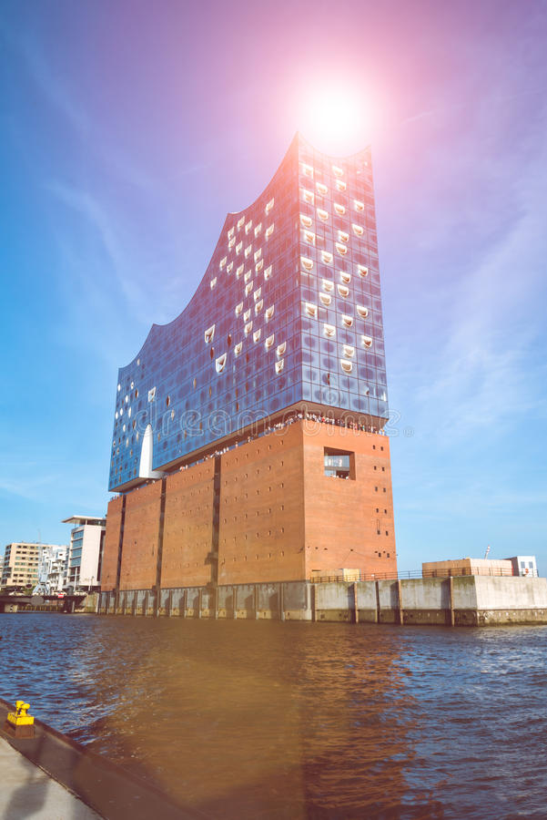 HAMBURG, GERMANY - May 28, 2017: The concert hall Elbphilharmonie with Sunflares above royalty free stock photography
