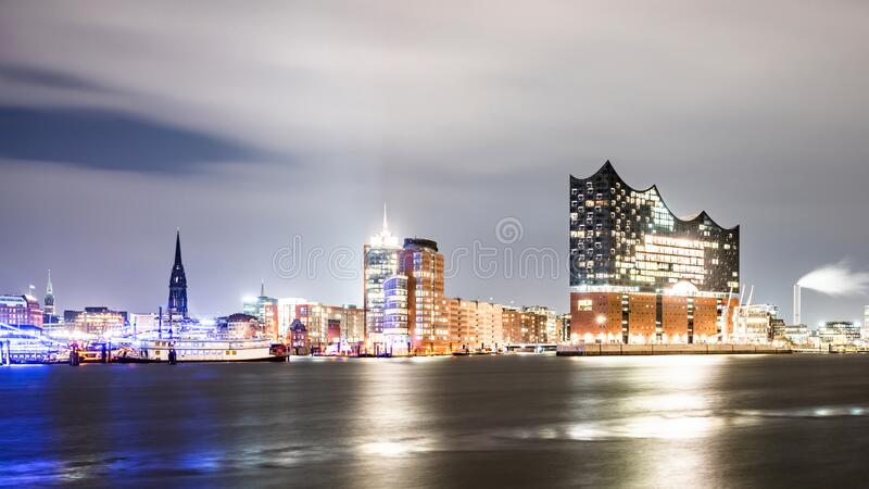 Hamburg, Germany at night. Skyline of Hamburg, Germany illuminated at night stock image