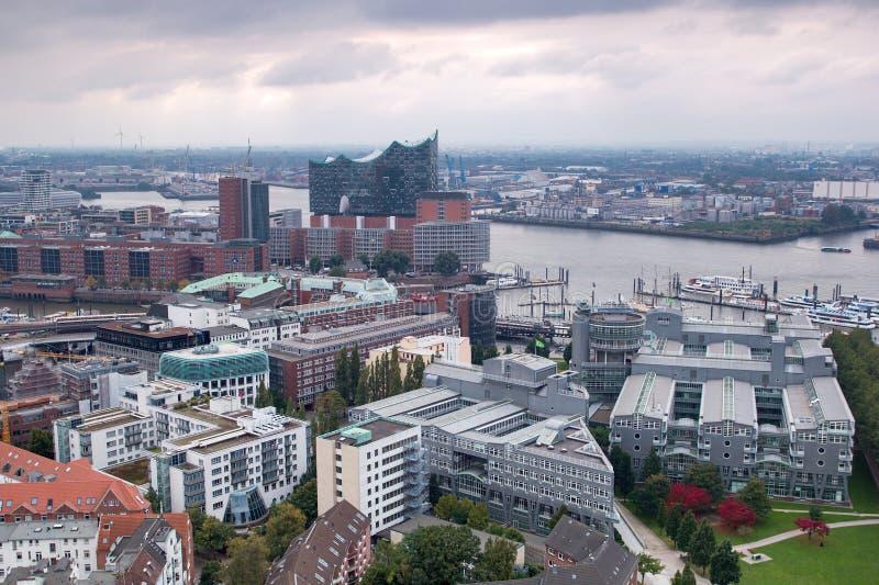 Aerial view of Harburg`s harbor royalty free stock image