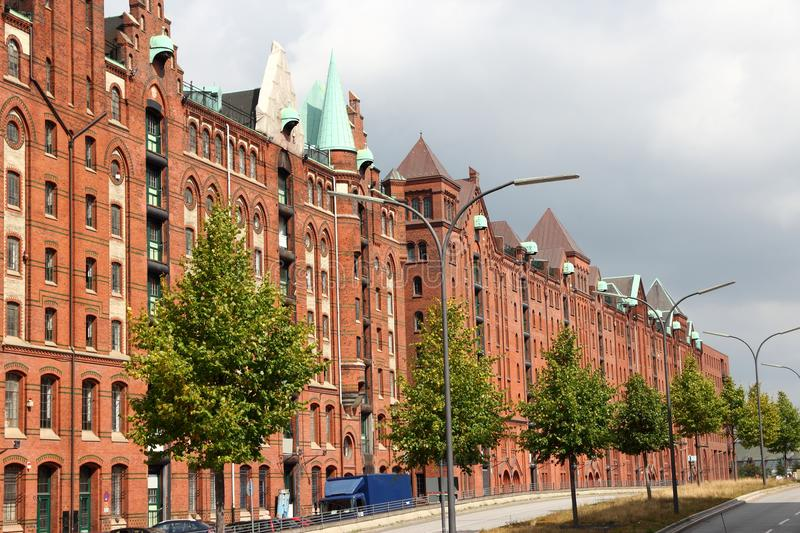 Hamburg, Germany. Speicherstadt (Warehouse District). Old harbor warehouses royalty free stock image