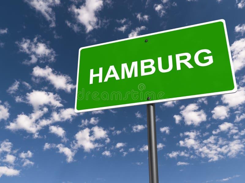 Hamburg traffic sign. Hamburg green traffic sign on blue sky stock images