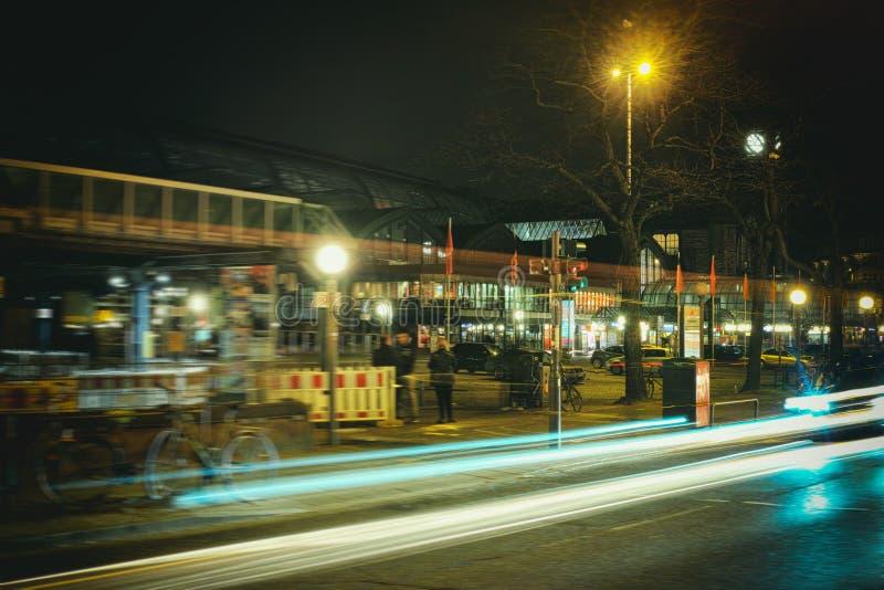 Hamburg, hafencity, czasu ujawnienie, żarówka, laser, architektura, czasu ujawnienie, samochody, laser fotografia royalty free