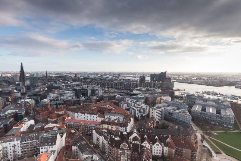 Hamburg harbor germany from above. The hamburg harbor germany from above stock photo