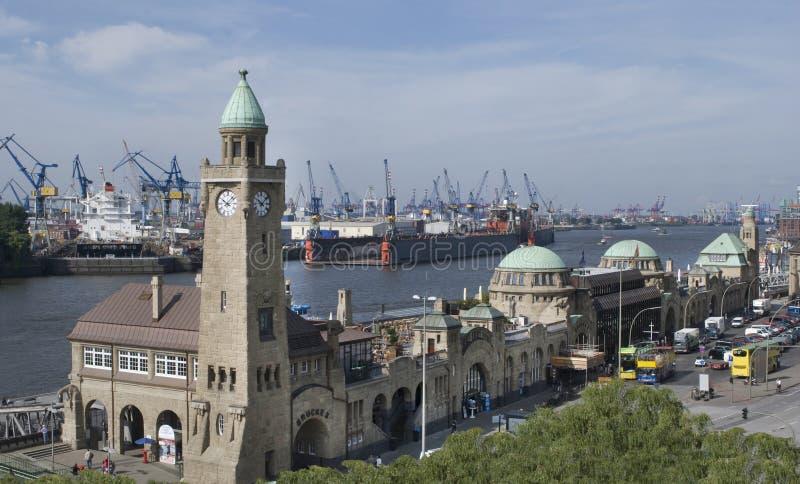 Download Hamburg Harbor Level Tower And Landing Bridges , Germany Stock Photo - Image: 33143208