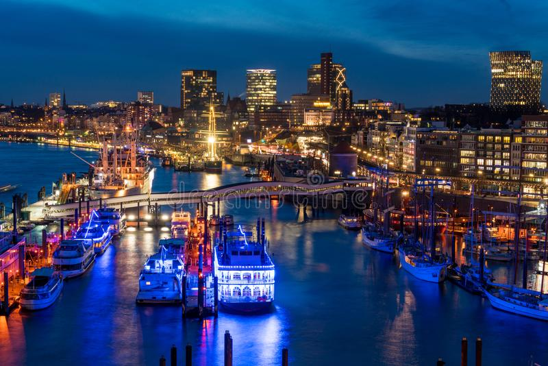 Hamburg harbor at nighttime from above. Taken with long exposure stock image