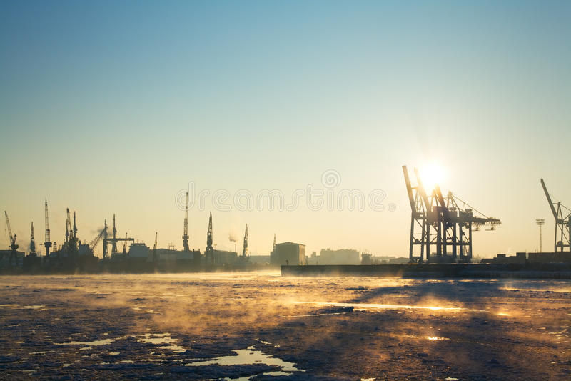Hamburg harbor in winter stock images