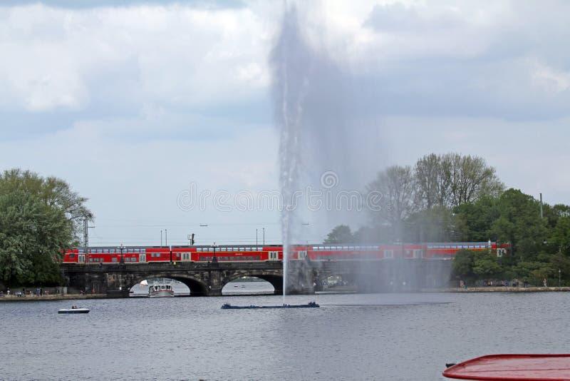 Hamburg, Kennedy Bridge. A view over the Hamburg Binnenalster to the Kennedy Bridge royalty free stock photos