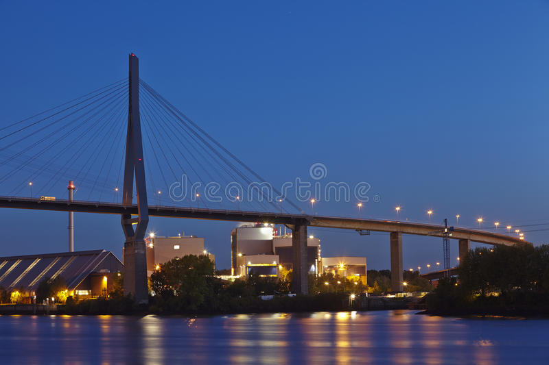 Hamburg - Koehlbrand Bridge in the evening. The Koehlbrand Bridge in Hamburg taken in the evening stock photos