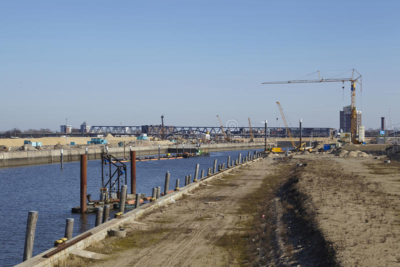 Hamburg (Niemcy) - plac budowy Hafencity fotografia stock