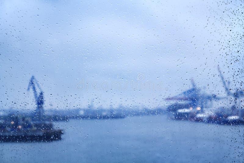 Hamburg raindrops on window royalty free stock photo