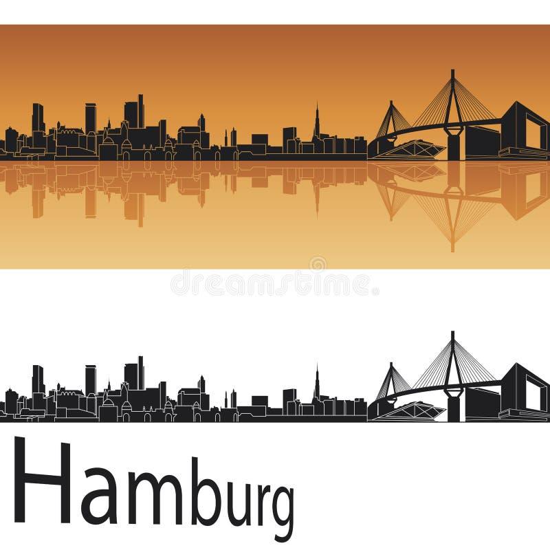 Hamburg skyline in orange background stock illustration