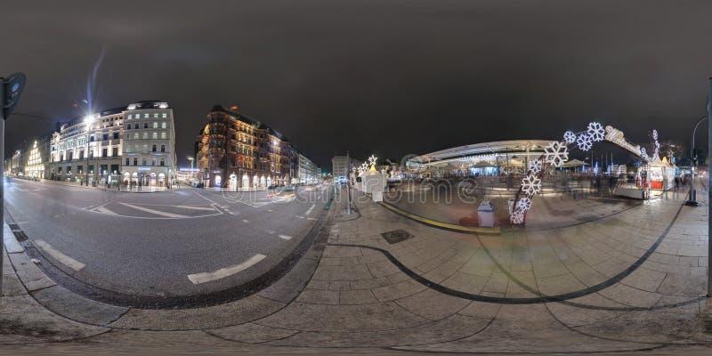 Hamburg 360 stopni panoramy ulicy widok obraz royalty free