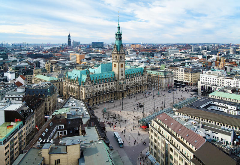 Download Hamburg, View Of City Hall And The City Panorama Stock Image - Image: 19070941