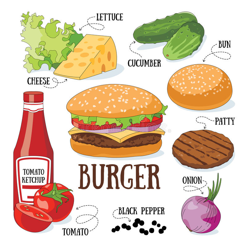 hamburgare royaltyfri illustrationer