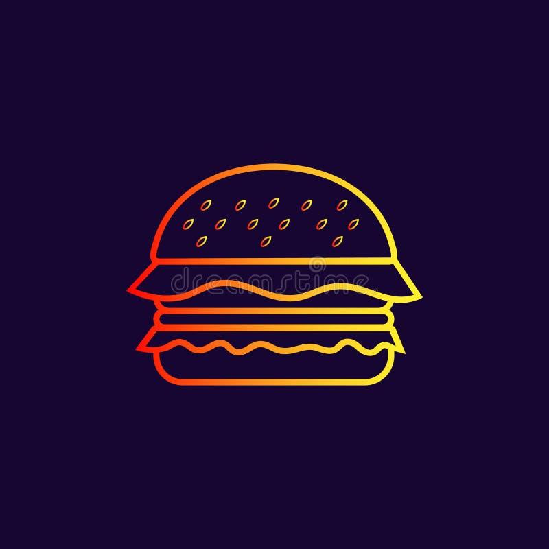 Hamburgare- eller smörgåsvektorsymbol stock illustrationer