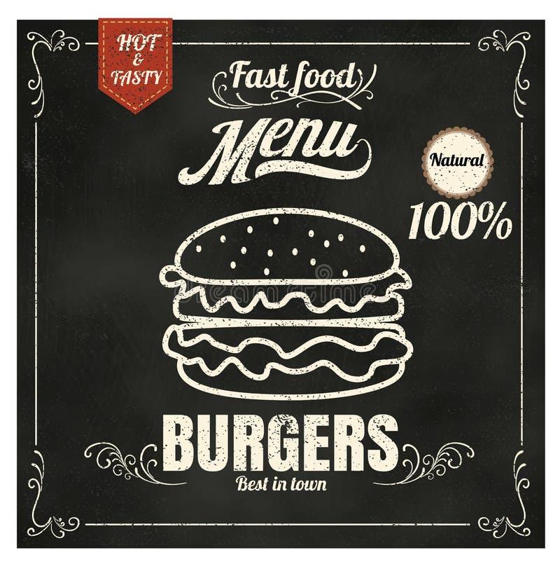 Hamburgare för meny för snabba Foods för restaurang på ep för svart tavlavektorformat royaltyfri illustrationer
