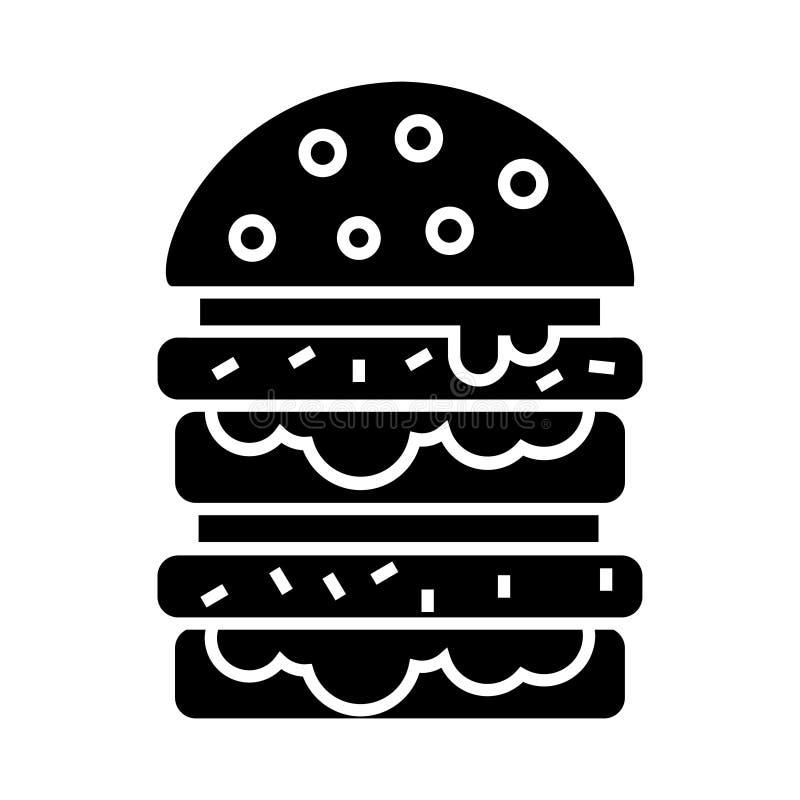 Hamburgare - hamburgaresymbol, vektorillustration, svart tecken på isolerad bakgrund stock illustrationer
