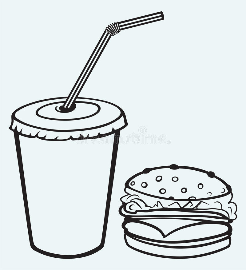 Hamburgare med cola royaltyfri illustrationer