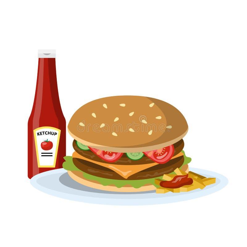 Hamburgare med Ketchup royaltyfri illustrationer