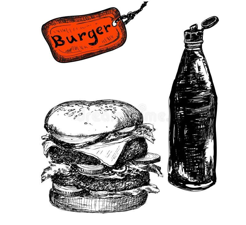 Hamburgare med ketchup stock illustrationer