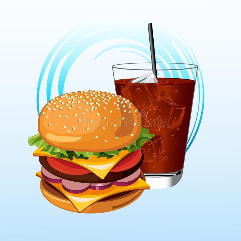 Hamburgare och Cola vektor illustrationer