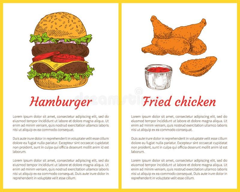 Hamburgare och Fried Chicken Vector Illustration vektor illustrationer