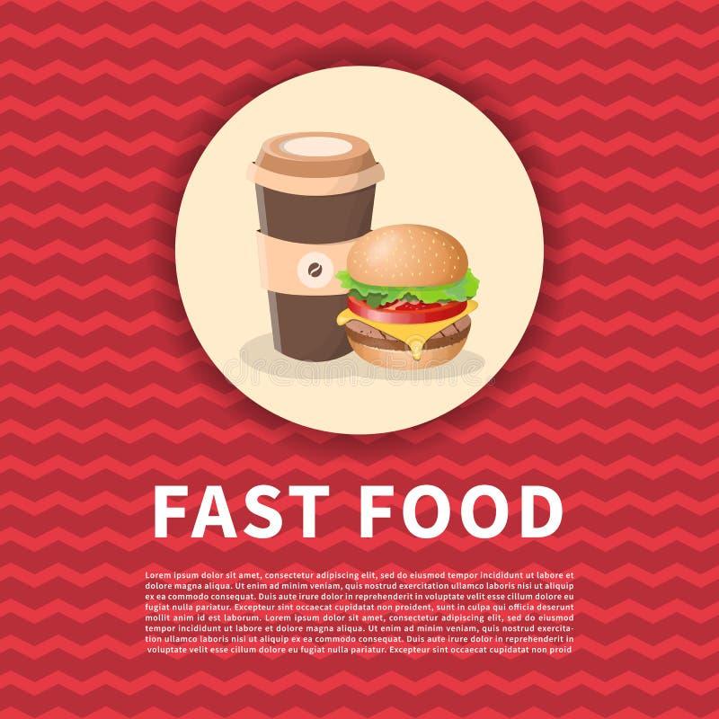 Hamburgare och kaffe som går affisch Gullig kulör bild av snabbmat Beståndsdelar för grafisk design för menyn, affisch, broschyr royaltyfri illustrationer