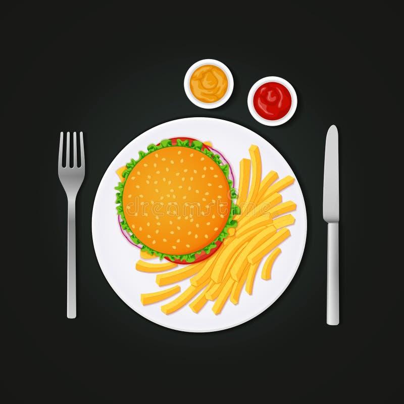 Hamburgare och småfiskar på en platta med gaffeln och kniven royaltyfri illustrationer