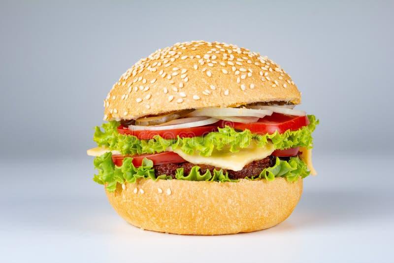 Hamburgare på vit bakgrund, hamburgaren med nötkött och ost, isolerat bröd royaltyfri fotografi
