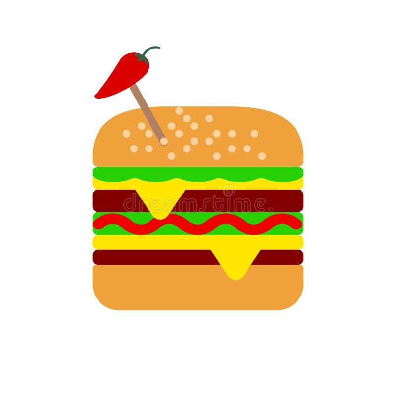 Hamburgare plan symbol för hamburgare, vektortecken, färgrik pictogram som isoleras på vit royaltyfri illustrationer