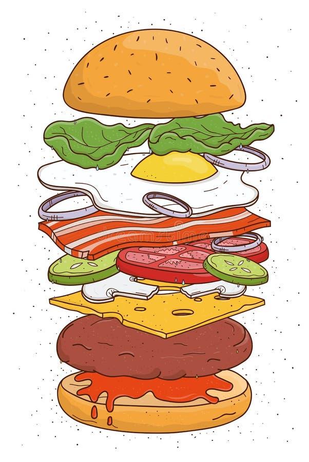 Hamburgarebegreppsingredienser Bulle sallad, tomat, ost, kotlett, ägg, bacon, champinjoner, lök, ketchup färgrik hand royaltyfri illustrationer