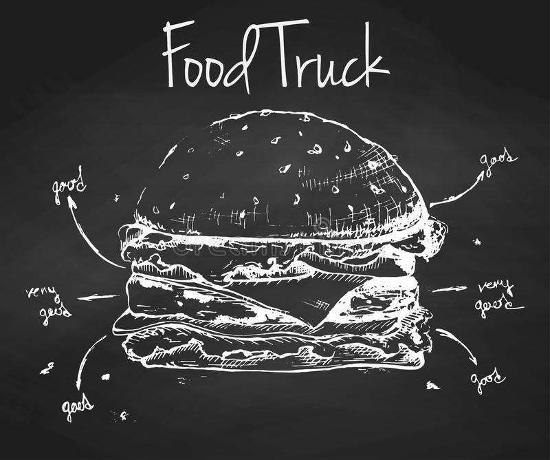 Hamburgarehand som dras på en svart tavla Inskriftmatlastbil stock illustrationer