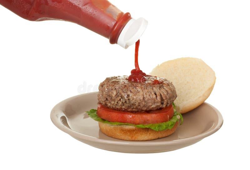hamburgareketchup royaltyfria foton