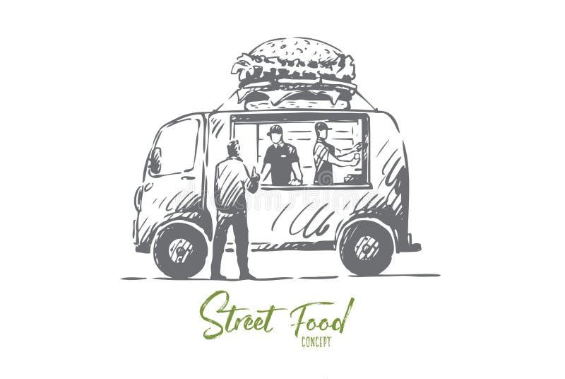 Hamburgaren bilen, snabbmat, shoppar, åker lastbil begrepp Hand dragen isolerad vektor stock illustrationer