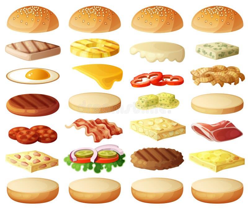 Hamburgareuppsättning Ingrediensbullar, ost, bacon, tomaten, löken, grönsallat, gurkor, knipalökar, gnäller, skinka stock illustrationer