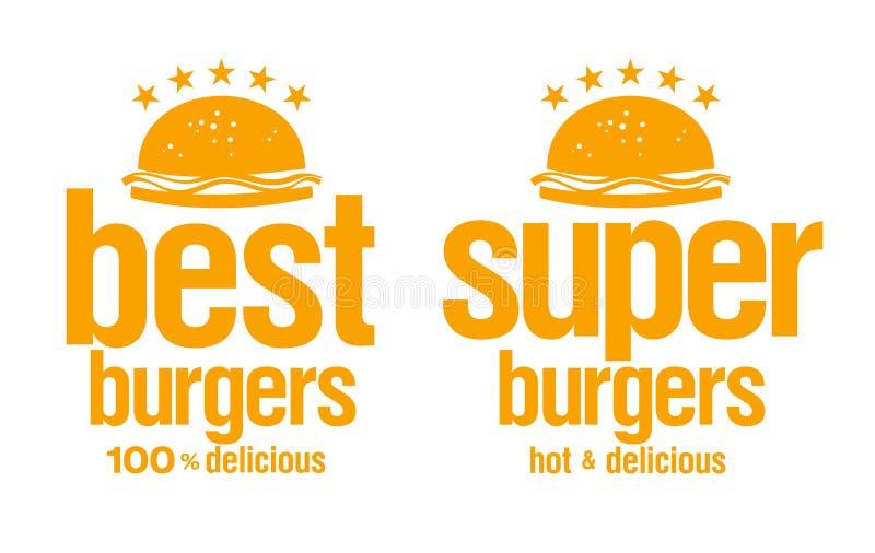 Hamburgerów najlepszi znaki. ilustracja wektor