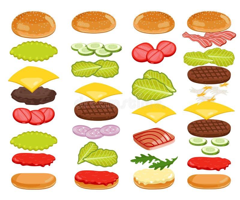Hamburgerów składniki Ustawiający na Białym tle ilustracja wektor