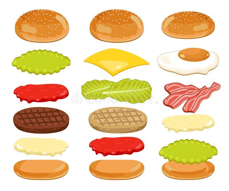 Hamburgerów składniki Ustawiający na Białym tle ilustracji