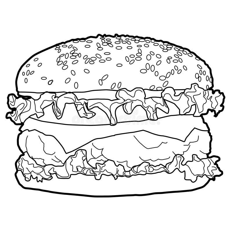 Hamburger é um alimento ocidental popular que é facilmente comido, delicioso, popular no mundo e que existe em todo o lado em mei ilustração royalty free