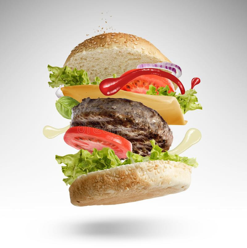 Hamburger With All The Condiments In Motion royalty free stock image