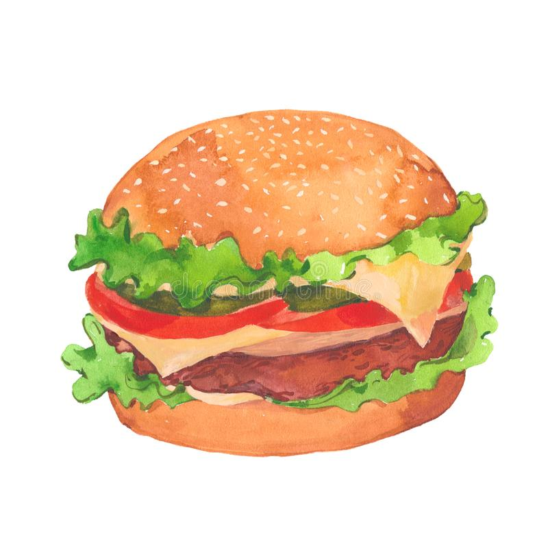 Hamburger appétissant d'aquarelle illustration stock