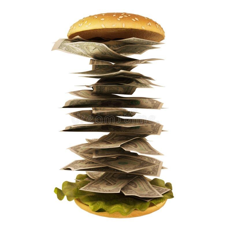 Hamburger avec de l'argent illustration libre de droits
