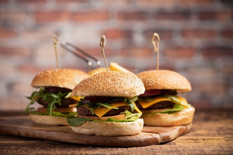 Hamburger avec de la laitue, fromage de cheddar, oignons, tomate photo stock