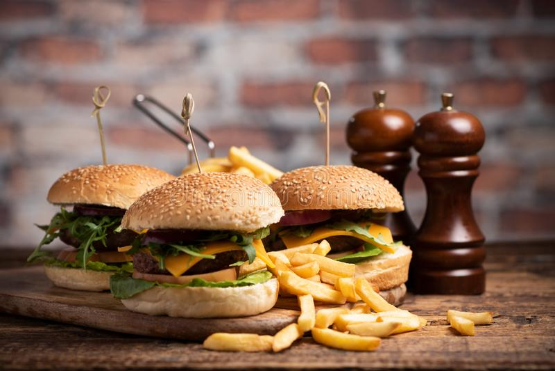 Hamburger avec de la laitue, fromage de cheddar, oignons, tomate photo libre de droits