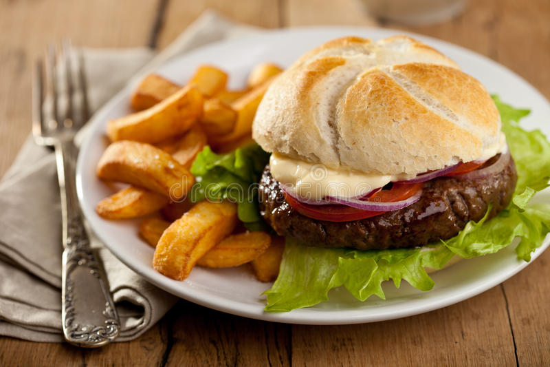 Hamburger avec des fritures photo stock
