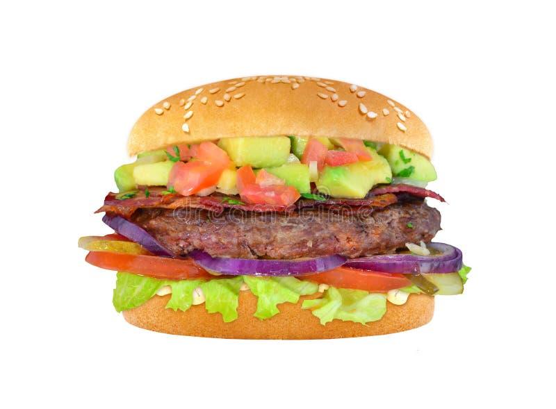 Hamburger avec du boeuf et l'avocat d'isolement photographie stock