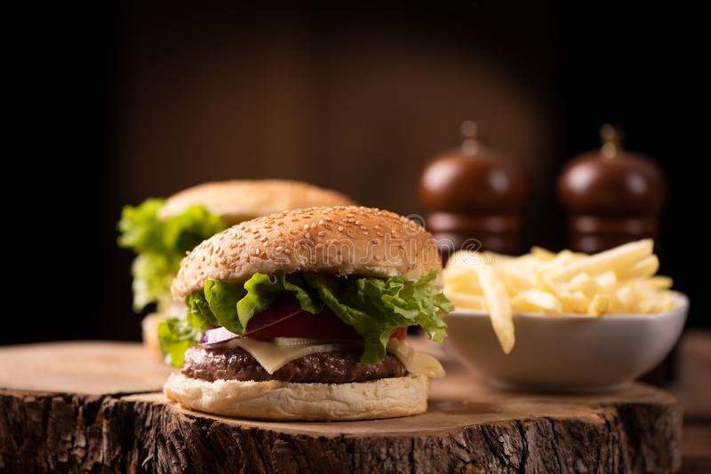 Hamburger avec du fromage photos libres de droits