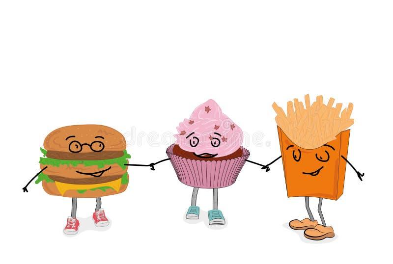 Hamburger, batatas fritas, queque para ir em conjunto Comida lixo Ilustra??o do vetor ilustração stock